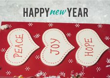 Happy new year wishes with message of peace, joy and hope Royalty Free Stock Photos