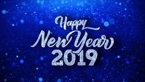 Happy New Year 2019 Wishes Particles Greetings, Invitation, Celebration Background. Happy New Year 2019 Greetings card Abstract Blinking Sparkle Glitter Particle stock footage