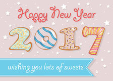 Happy New Year 2017. Wishing you lots of sweets. Colorful donuts font. Celebration pink background with confetti stars. Greeting card. Blue banner for custom Stock Photos