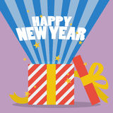 Happy New Year With A Gift Box Royalty Free Stock Images