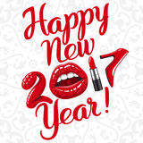 Happy new 2017 year. Woman things. Red glossy lips of open mouth, makeup lipstick, high heels shoes. Vector illustration Stock Photos