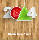 Happy New Year 2014 on wood background. This is file of EPS8 format Royalty Free Stock Photography
