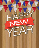 Happy new year wood drop Stock Images