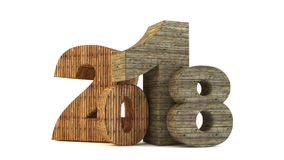 Happy new year 2018. New 2018 year wood figures isolated on white background. 3D rendered Illustration for advertising Stock Image