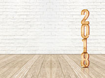 Happy new year 2018 wood number 3d rendering in perspective wo. Od floor and white brick wall room,Holiday concept,Leave space for display or montage of product Stock Photo