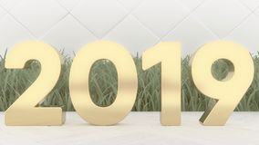 2019 happy new year wood number 3d rendering on wood table. Trendy cover stock image