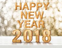Happy new year 2018 wood number 3d rendering on white wooden p. Lank table at blur abstract gold sparkle bokeh background,Holiday greeting card Royalty Free Stock Photo