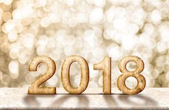 Happy new year 2018 wood number 3d renderingon marble table wi. Th sparkling gold bokeh wall,panoramic banner for display or montage of product for holiday Stock Photo