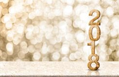 Happy new year 2018 wood number 3d renderingon marble table wi. Th sparkling gold bokeh wall,panoramic banner for display or montage of product for holiday Stock Image