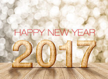 Happy new year 2017 wood number in perspective room with sparkli Royalty Free Stock Image
