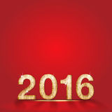 Happy new year and 2016 wood number on red studio background,Lea Royalty Free Stock Photo