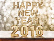 Happy New Year 2016 wood texture on marble table with sparkling Royalty Free Stock Photos
