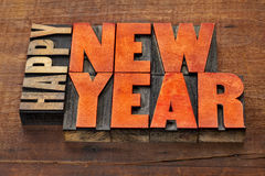 Happy New Year in wood type Royalty Free Stock Photos
