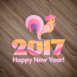 Happy New Year 2017 on the wooden background. Royalty Free Stock Photo