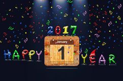 Happy New Year 2017. Wooden calendar with first January of 2017 year and colorful text Happy Year. 3D rendering stock illustration