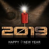 Happy New Year 2019 - Wooden Candle and Numbers royalty free illustration