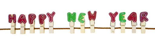 Happy New Year wooden clip on the rope Stock Photography