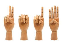 Happy new year with wooden hands forming number 20 Stock Images
