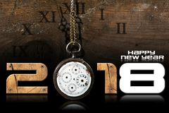 Happy New Year 2018 - Old Pocket Watch. Happy New Year 2018 - Wooden numbers with an old and broken pocket watch with chain on a wooden background stock illustration
