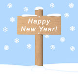 Happy New Year wooden signpost. Happy New Year. Vector greeting card design vector illustration