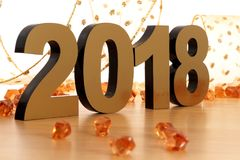 Happy New Year 2018. On wooden table Stock Image