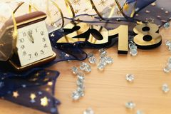 Happy New Year 2018. On wooden table Stock Photos