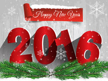 Happy New Year 2016 on a wooden table with snow. Vector EPS 10 Stock Image