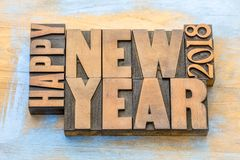 Happy New Year 2018 word abstract in wood type Stock Photos