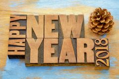 Happy New Year 2018 word abstract in wood type Stock Images
