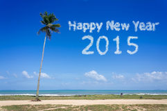 Happy New Year 2015 word cloud in the blue sky. For new year concept stock photo