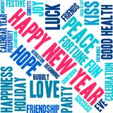 Happy New Year Word Cloud. On a white background Stock Images