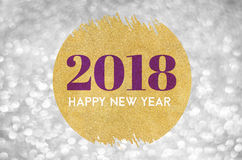 Happy new year 2018 word on gold circle glitter on silver sparkl. Ing bokeh lights background,Holiday greeting card Stock Image