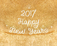 2017 Happy New year word at gold glitter background ,Holiday Gre. Eting card Stock Photos