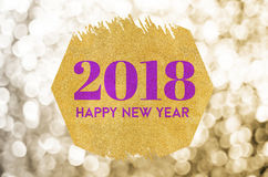 Happy new year 2018 word on gold octagon glitter on gold sparkli Stock Image