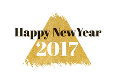 Happy new year 2017 word on gold rectangle glitter on white back Royalty Free Stock Images