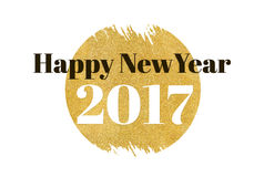 Happy new year 2017 word on gold rectangle glitter on white back Stock Images