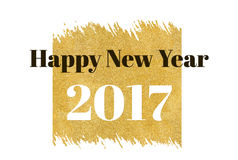 Happy new year 2017 word on gold rectangle glitter on white back Stock Image