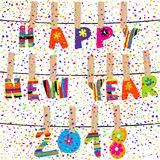 Happy new year 2018 word hanging  in clothes pegs on rope Stock Image