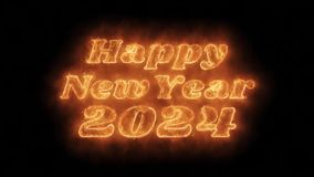 Happy New Year 2024 Word Hot Animated Burning Realistic Fire Flame Loop.