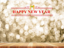 Happy New Year word in perspective room with golden sparkling bo Royalty Free Stock Photos