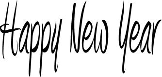 Happy New Year. Words Happy New Year in black and white writing Stock Images