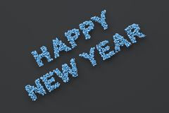 Happy New Year words from blue balls on black background. New Year sign. 3D rendering illustration Royalty Free Stock Photos