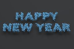 Happy New Year words from blue balls on black background. New Year sign. 3D rendering illustration Royalty Free Stock Photo