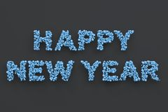 Happy New Year words from blue balls on black background. New Year sign. 3D rendering illustration Royalty Free Stock Images