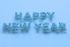 Happy New Year words from blue balls on blue background. New Year sign. 3D rendering illustration Royalty Free Stock Photo