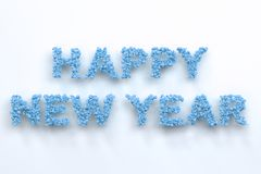 Happy New Year words from blue balls on white background. New Year sign. 3D rendering illustration Stock Photography