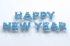 Happy New Year words from blue balls on white background. New Year sign. 3D rendering illustration Stock Images