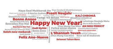 Happy New Year words cloud stock illustration
