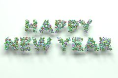 Happy New Year words from colorful balls on white background. New Year sign. 3D rendering illustration Royalty Free Stock Images