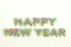 Happy New Year words from colorful balls on white background. New Year sign. 3D rendering illustration Royalty Free Stock Photo